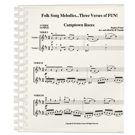 Folk Song Melodies For Violin, Duets Cubed…3 Verses of FUN! | Martha